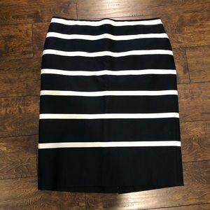 Talbots Black w/ White Stripes Pencil Skirt